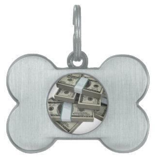 Pilas del dinero placas de mascota