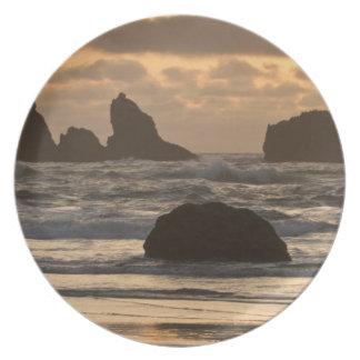 Pilas del mar en la playa en Bandon, Oregon Plato De Comida