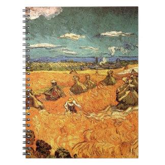 pilas del trigo con el segador de Vincent van Gogh Libros De Apuntes