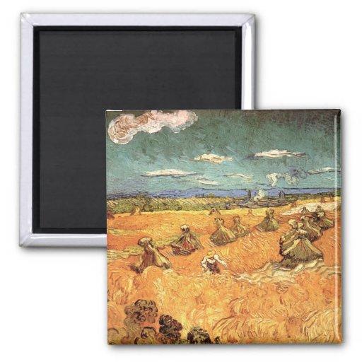 Pilas del trigo con el segador de Vincent van Gogh Imanes