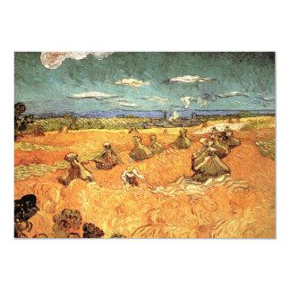 """Pilas del trigo con el segador de Vincent van Gogh Invitación 5"""" X 7"""""""