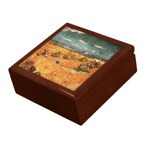 pilas del trigo con el segador de Vincent van Gogh Joyero Cuadrado Grande