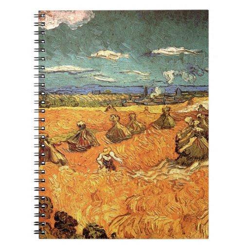 pilas del trigo con el segador de Vincent van Gogh Libro De Apuntes Con Espiral