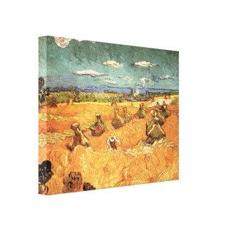 Pilas del trigo con el segador de Vincent van Gogh Lona Estirada Galerias