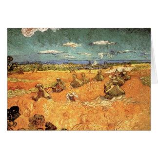Pilas del trigo con el segador de Vincent van Gogh Felicitacion