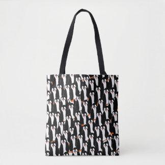 Pilas lindas caprichosas de pingüinos bolsa de tela