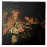 Pilate que se lava las manos (aceite en lona) azulejo cuadrado grande