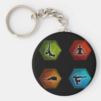 Pilates de la yoga llavero redondo tipo pin