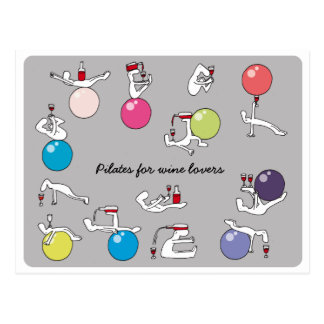 Pilates for wine lovers postcard, grey postcard
