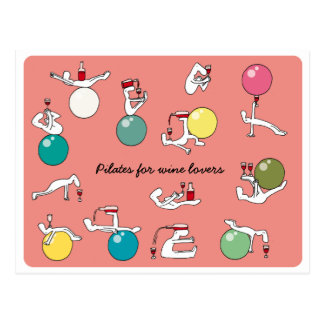 Pilates for wine lovers postcard, salmon postcard