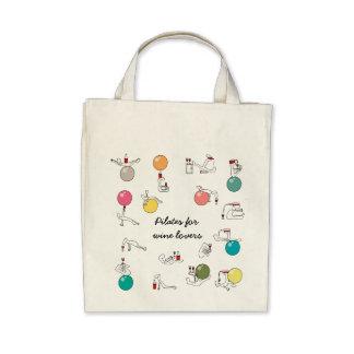 Pilates para el bolso de los amantes del vino bolsas de mano