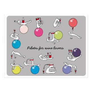 Pilates para la postal de los amantes del vino, gr