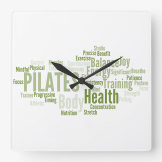 PILATES Words Wall Clock