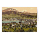 Pilatus and Lucerne, seen from Drei Linden, Lucern Greeting Cards