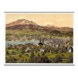 Pilatus and Lucerne, seen from Drei Linden, Lucern Postcard
