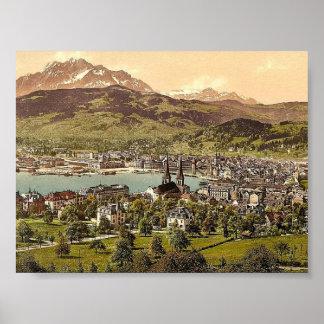 Pilatus and Lucerne, seen from Drei Linden, Lucern Print