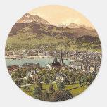 Pilatus and Lucerne, seen from Drei Linden, Lucern Round Stickers