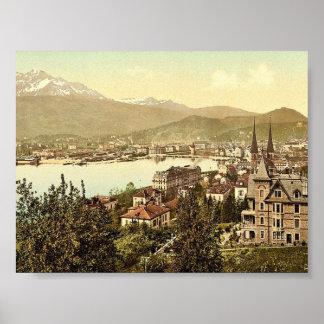 Pilatus and Lucerne, seen from Neuschweizerhaus, L Print