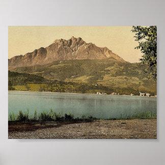 Pilatus obra clásica Photochrom de Suiza Poster