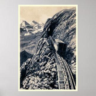 Pilatus steepest rack mountain railway print