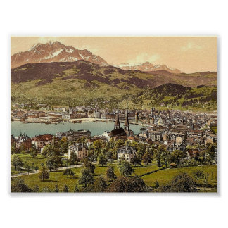 Pilatus y Alfalfa vistos del tilo de Drei Lucern Posters