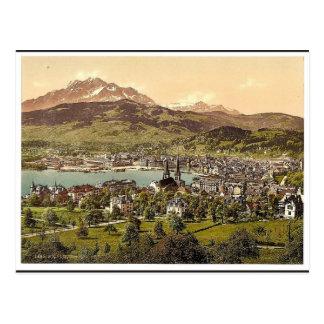 Pilatus y Alfalfa, vistos del tilo de Drei, Lucern Tarjeta Postal