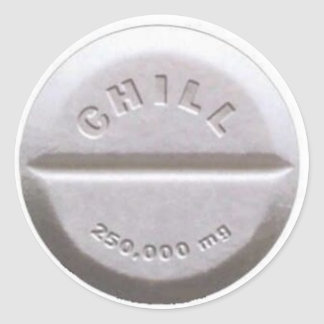 Píldora desapasible pegatina redonda