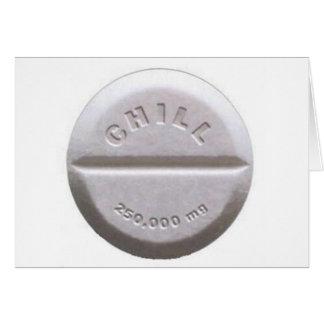 Píldora desapasible tarjeta de felicitación