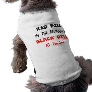 Píldora roja del negro de la píldora playera sin mangas para perro