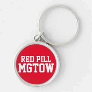 Píldora roja MGTOW Llavero Redondo Plateado