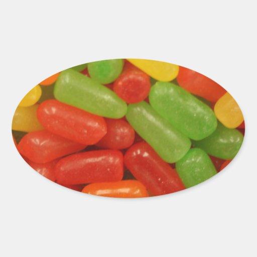 Píldoras coloridas del caramelo pegatinas de óval
