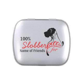 Píldoras de la baba del perro para los amigos de latas de dulces