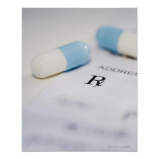 Píldoras en la prescripción escrita póster