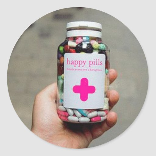 Píldoras felices etiquetas redondas