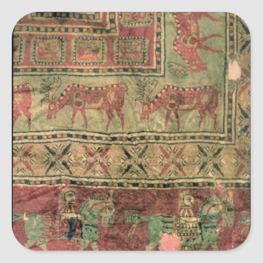 Pile carpet depicting horses and riders stickers