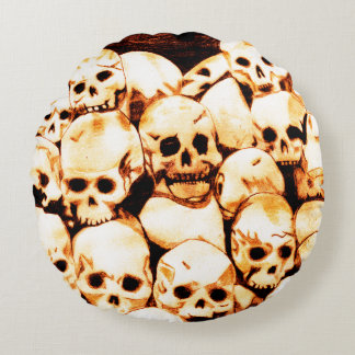 Pile-O-Skulls (Aged) Round Pillow