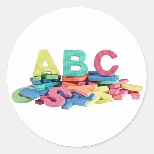 Pile of alphabet blocks stickers