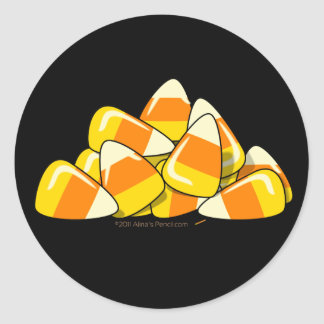 Pile of Candy Corn Halloween Template Stickers