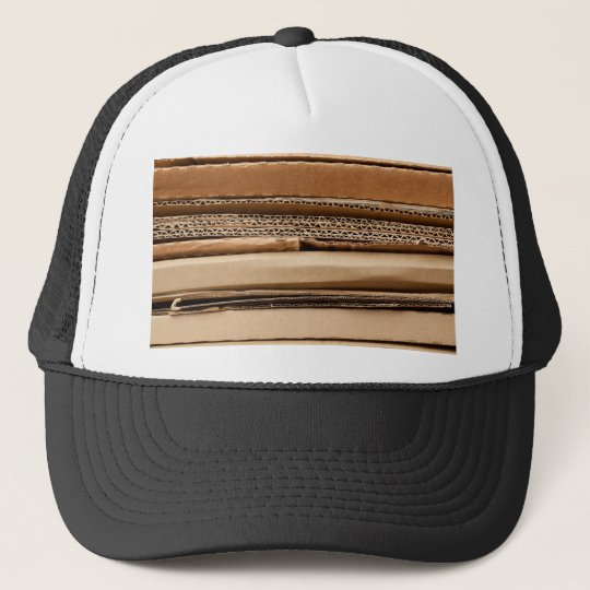 Pile of cardboard trucker hat
