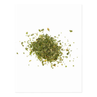 Pile of chopped coriander leaves postcard