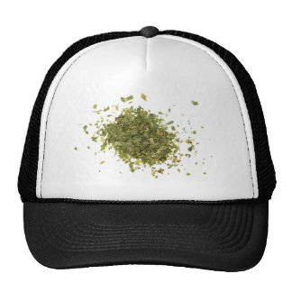 Pile of chopped coriander leaves trucker hat