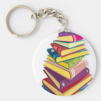 pile of color books basic round button keychain