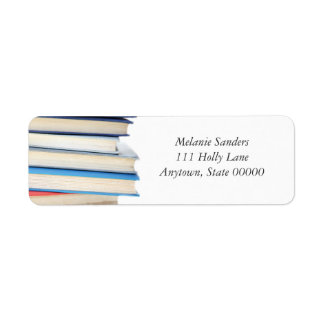 Pile of colorful books return address label