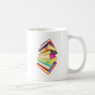 Pile of colorful books mugs