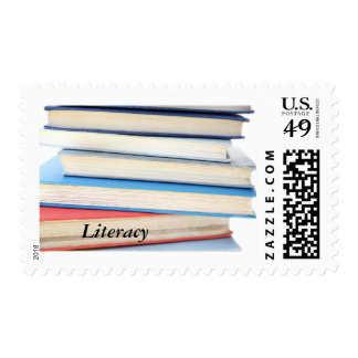 Pile of colorful books postage stamp