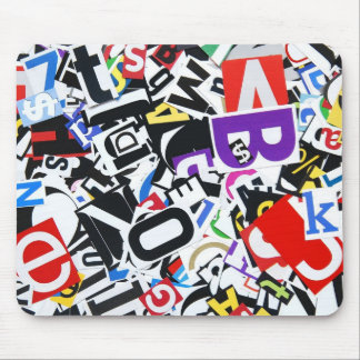 Pile of Colorful Cutout Letters Mouse Pad