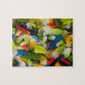 Pile of colorful feathers jigsaw puzzle