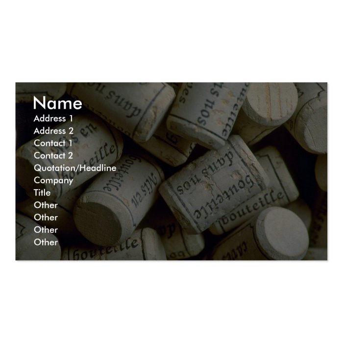 Pile of corks business card