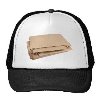 Pile of corrugated cardboard trucker hat