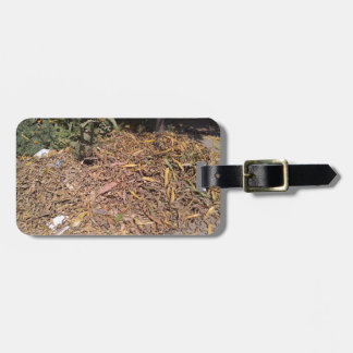 Pile of dried leaves and grass bag tags
